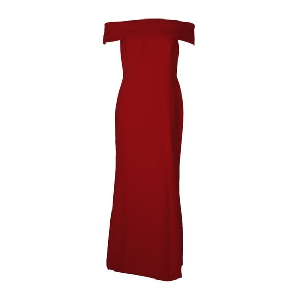 ed97a1d1971fa Calvin Klein Red Foldover Off-Shoulder Crepe Gown